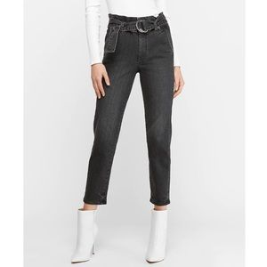 EXPRESS Super High Waisted Belted Paperbag Jeans